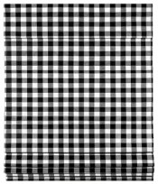 Cordless Buffalo Check Roman Window Shade 35x64, Black/White