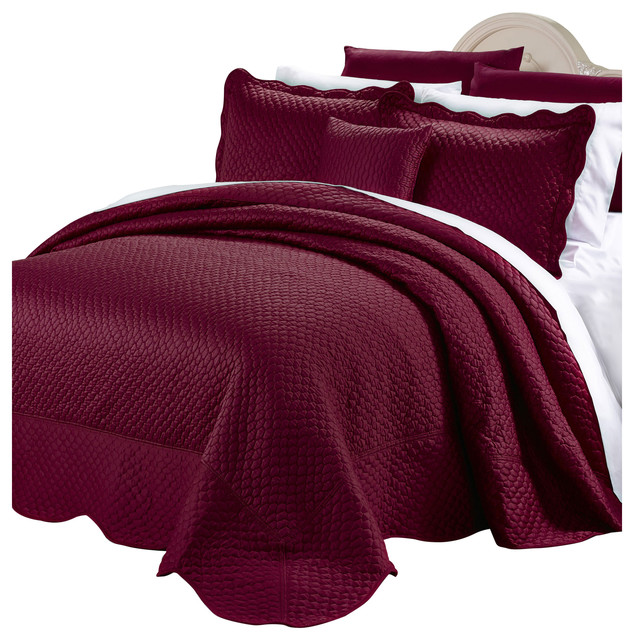 Matte Satin Quilted 4 Piece Bedspread Set Contemporary
