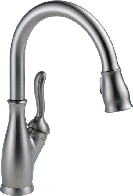 delta leland single handle pull down kitchen faucet arctic stainless