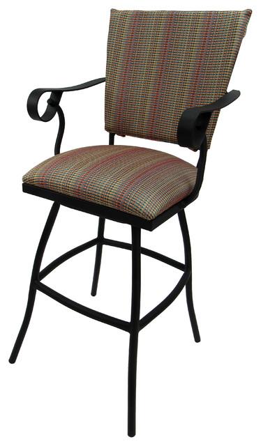 outdoor patio extra tall spectator swivel bar stool padded back jenna 35