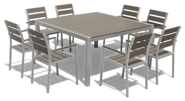 9 piece outdoor patio furniture set aluminum polywood resin