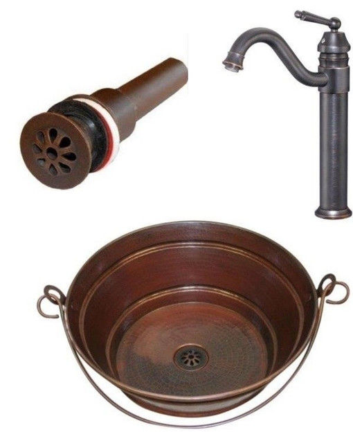 15 round copper bucket vessel sink with drain and faucet combo