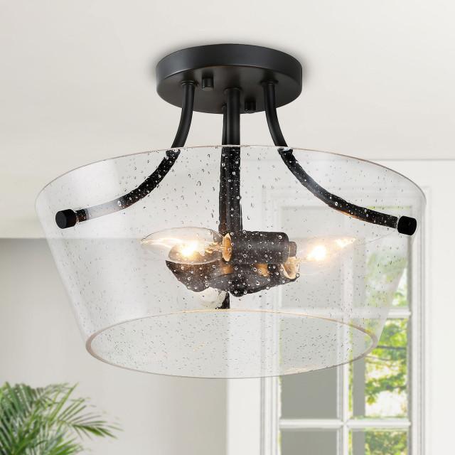 3 light transitional semi flush mount lighting