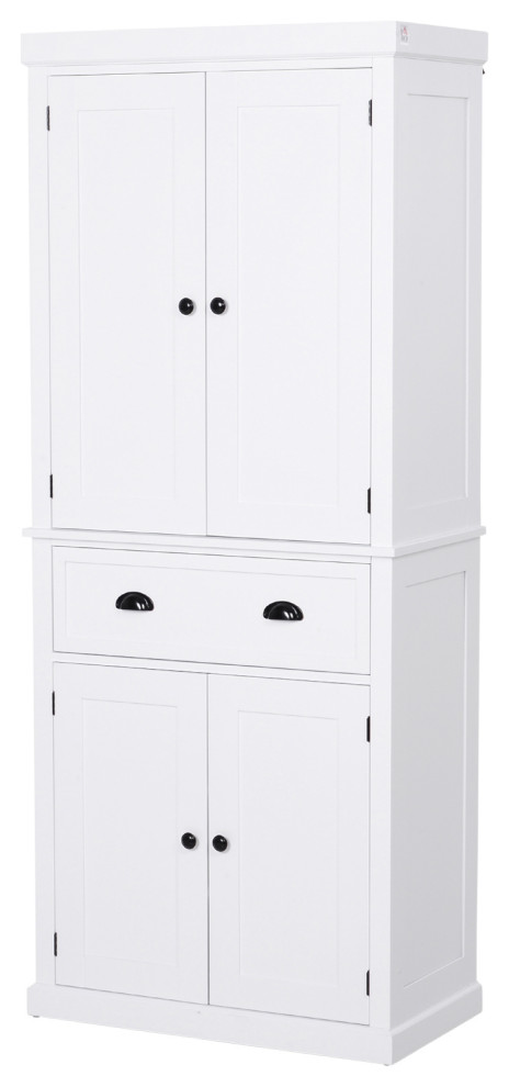 Homcom 72 Traditional Standing Kitchen Pantry Cupboard Cabinet Transitional Pantry Cabinets By Aosom