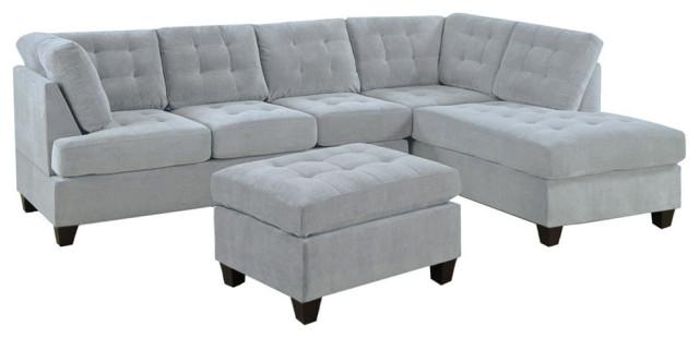 contemporary 3 piece gray sectional sofa reversible chaise with ottoman