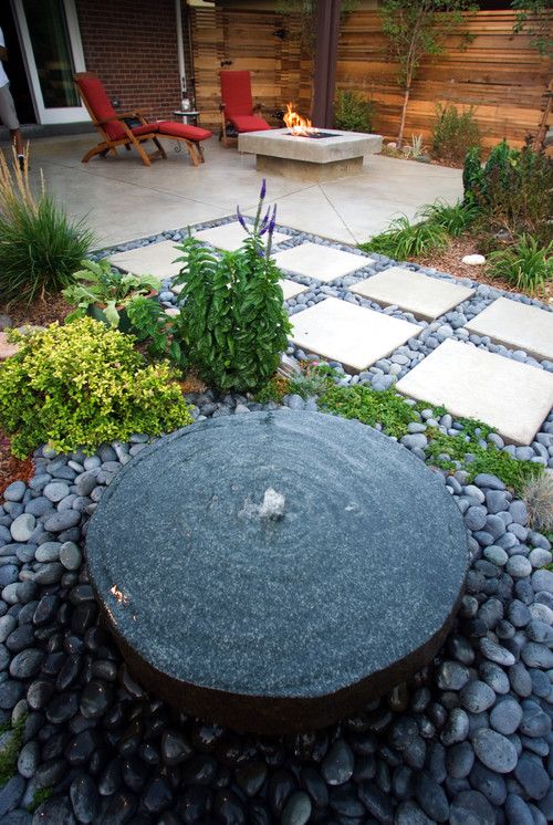 Custom Built-in Cored Stone Water Feature