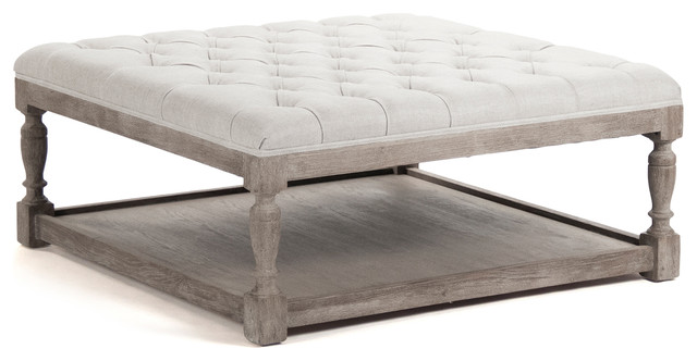 Square Fabric Ottoman Coffee Table