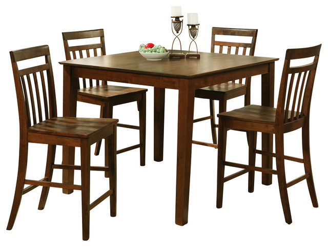 5 Pc Pub Table Set-Square Gathering Table And 4 Stools