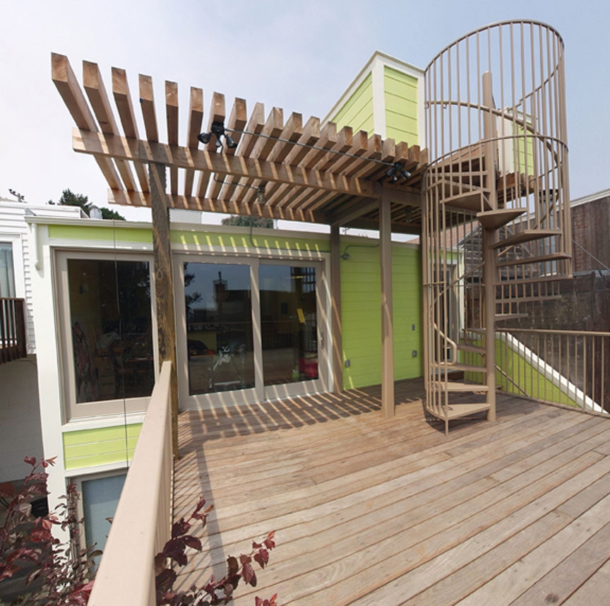 Deck With Spiral Stairs Up To Observation Deck Contemporary | Spiral Staircase For Outside Deck | Iron | Custom | Double Spiral | Railing | Portable Rectangular Concrete