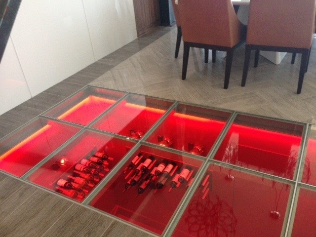 Glass Floor Penthouse Luxury Wine Cellar Contemporary