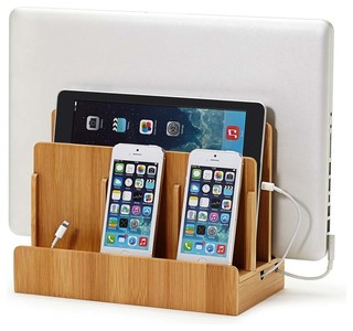 Smart Charging Station With USB and AC Power Hub, Bamboo