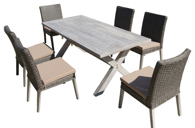 Lindmere 7-Piece Antique Gray Hard Wood/Wicker Patio