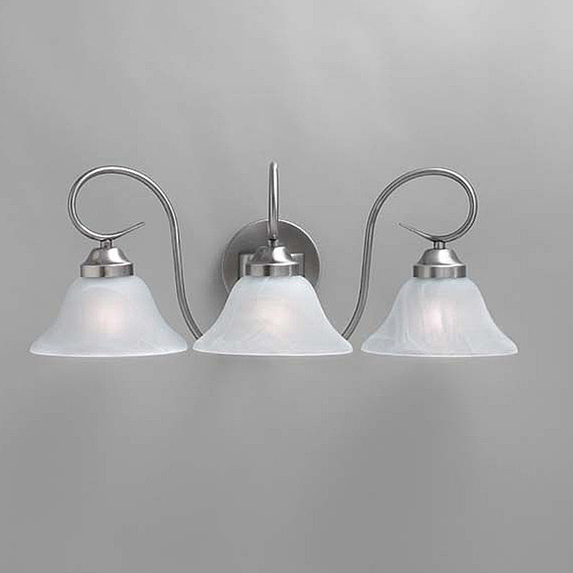 Transitional Brushed Nickel 3-light Bath Light Fixture ...