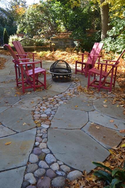 river rock shade garden craftsman