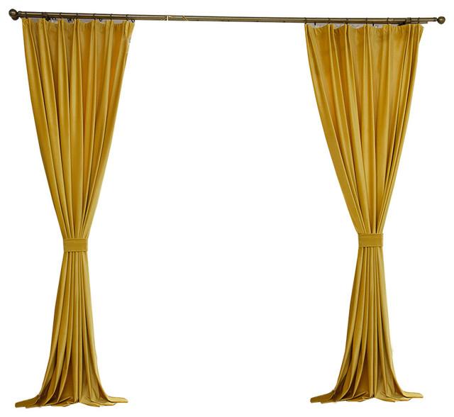 luxury velvet curtain panels gold set of 2 rod pocket 50 x84