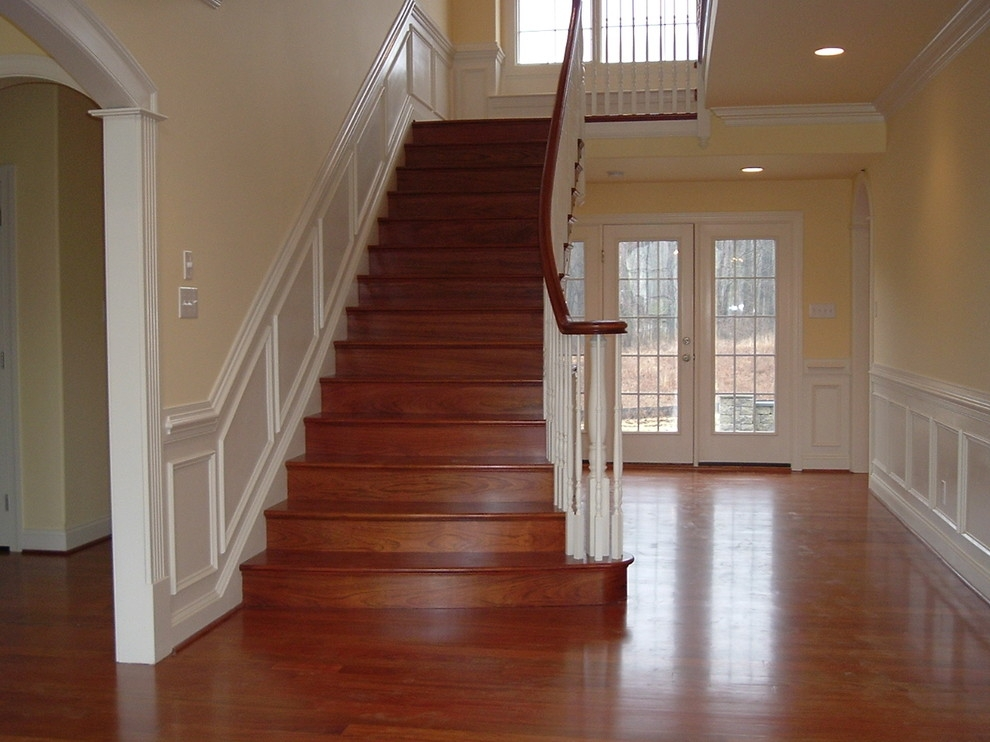 Brazilian Cherry Stairs With Wainscoting Traditional Staircase   Brazilian Cherry Stair Treads   Box   Walnut   Mahogany   Stained   Finished