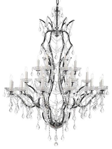 19th C Rococo Iron And Crystal Chandelier Traditional Chandeliers