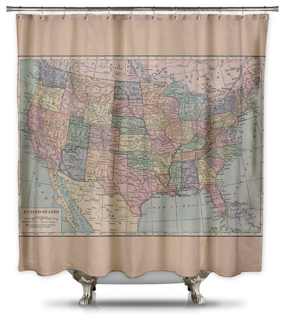 vintage map of united states shower curtain by catherine holcombe standard