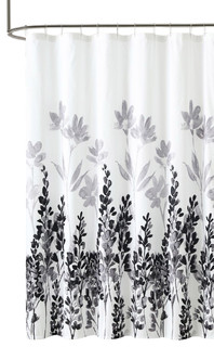 Mirage Black White Embossed Fabric Shower Curtain, Floral Motif