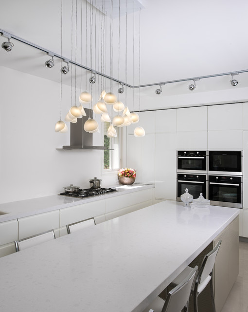 Shell Chandelier Contemporary Kitchen