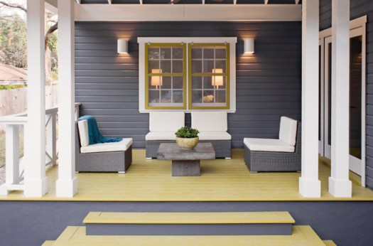 Transitional Porch Photo In Austin With Decking And A Roof Extension