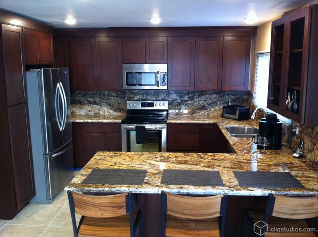 Dark Cherry Wood Kitchen Cabinets