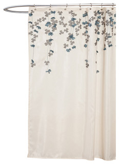 """Flower Drops Shower Curtain, Ivory/ Blue, 72"""" X 72"""", Floral, Single"""