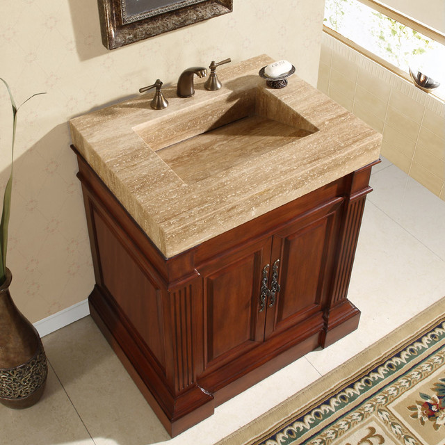 Silkroad Exclusive Travertine Top 33 Inch Single Sink