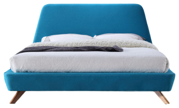 henry mid century modern upholstered platform bed blue queen