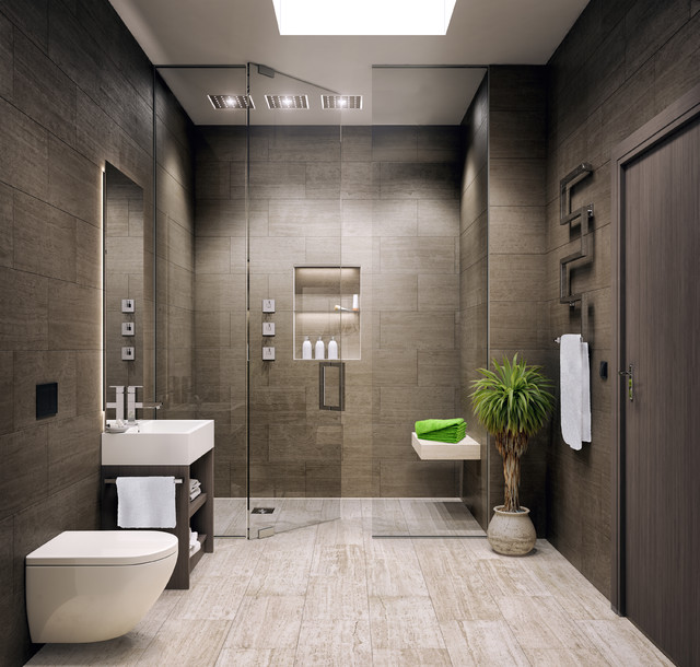 Mid Sized Minimalist Master Light Wood Floor Bathroom Photo In Other With Open Cabinets