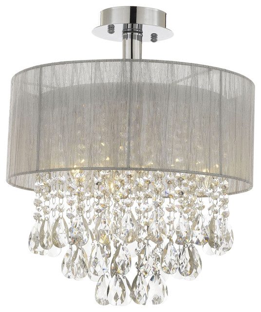 Silver And Crystal 15 W Ceiling Light Chandelier Flush Mount Contemporary Chandeliers