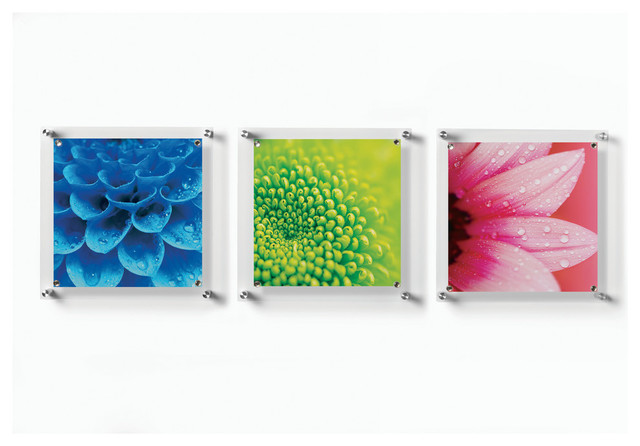 trio set of 3 square floating wall frames 14x14