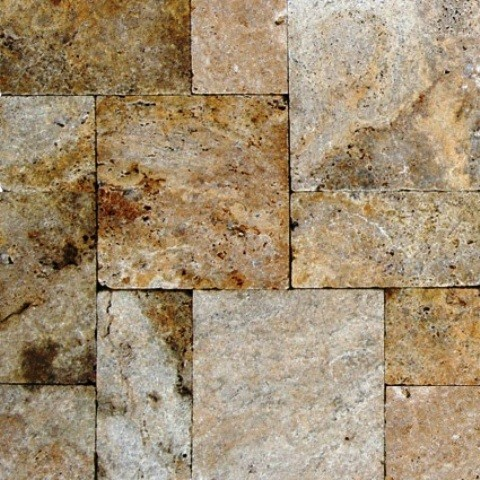 tumbled tuscany scabos french pattern travertine tile sample