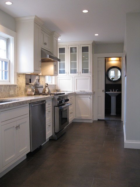 Transitional Kitchen With Custom Cabinets Amp Powder Room With Marble Floor Traditional