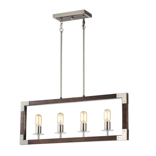 4 light brushed nickel and wood farmhouse island linear chandelier