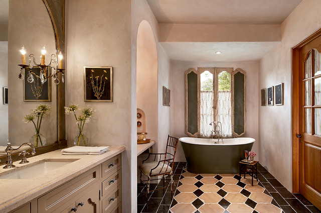 French Country Estate Mediterranean Bathroom Phoenix By Higgins Architects