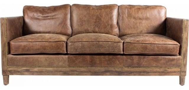 darlene 72 leather sofa brown