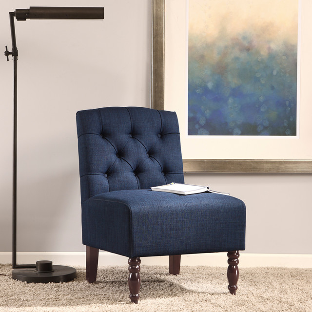 Navy Tufted Accent Chair