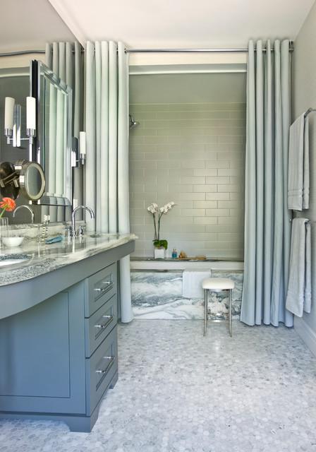 shower curtain or a shower door