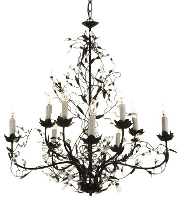 Wrought Iron Crystal Chandelier 10 Lights Traditional Chandeliers