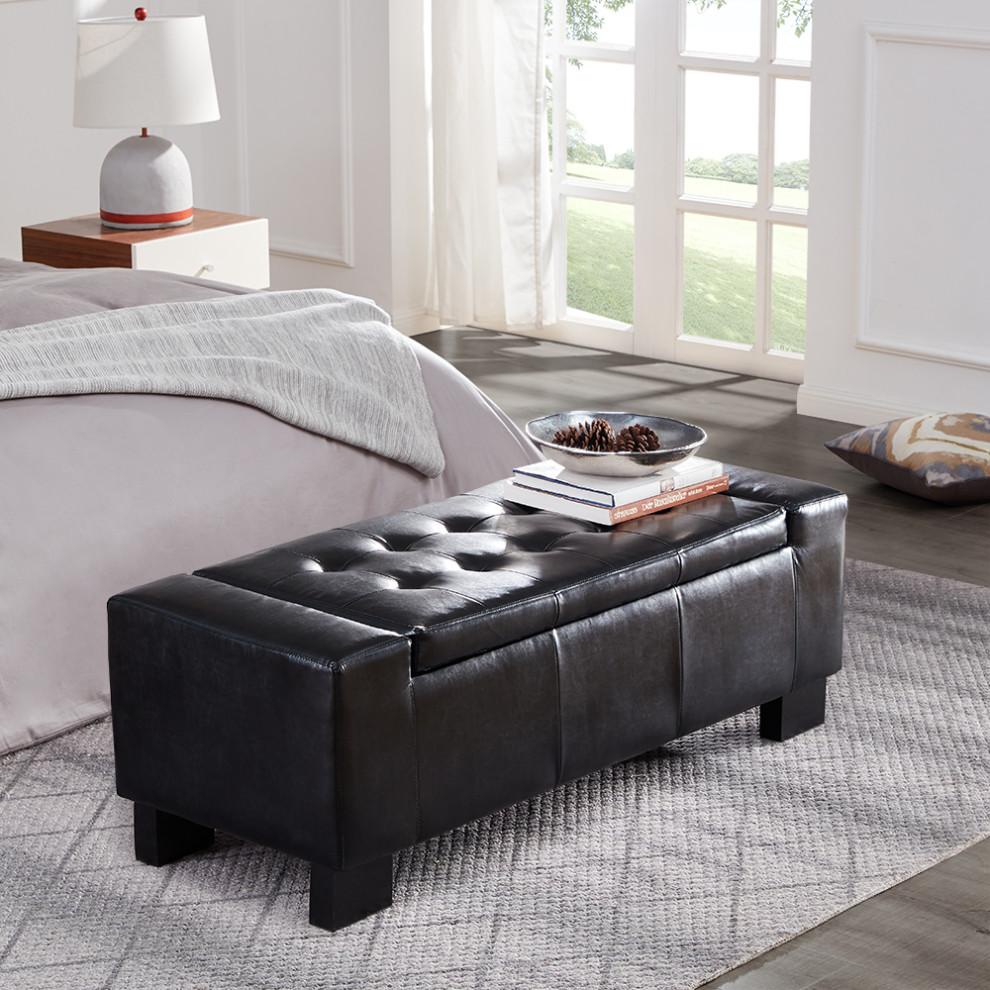 faux leather large rectangular storage ottoman 51 black
