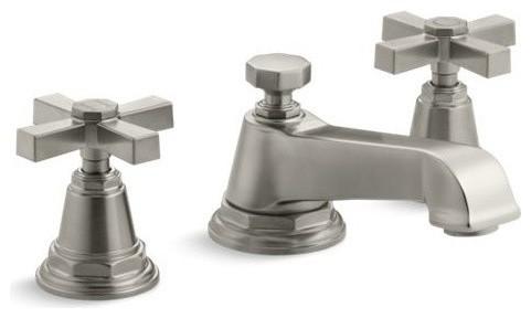 kohler pinstripe pure widespread bathroom faucet vibrant brushed nickel