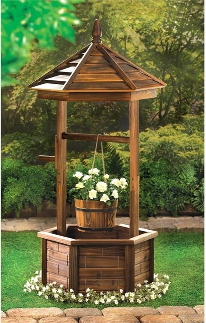 Rustic Wishing Well Planter Rustic Outdoor Pots And Planters By Koolekoo