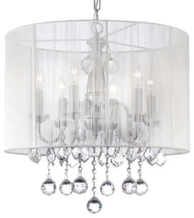 Crystal Chandelier With Large White Shades And 40 Mm Traditional Chandeliers