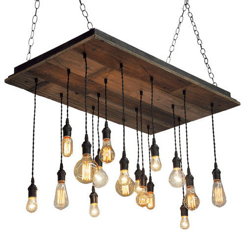 Reclaimed Wood Chandelier Brass Socket Suspended Rustic Chandeliers