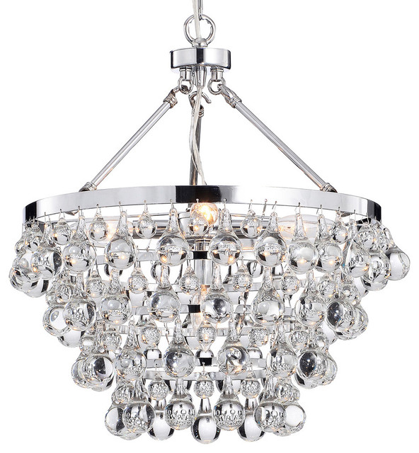 Crystal Glass 5 Light Luxury Chandelier Chrome Contemporary Pendant Lighting