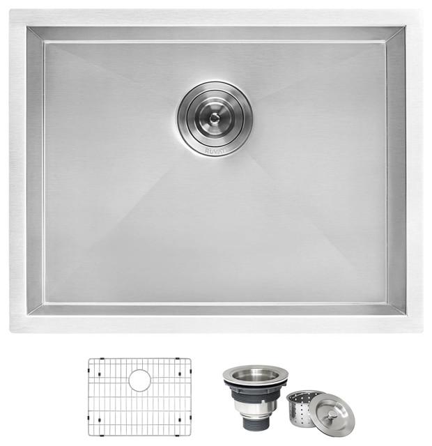 24 inch deep laundry utility sink undermount 16 gauge stainless steel rvu6124