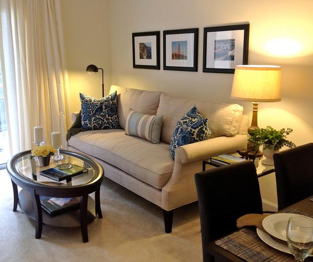 Small Apartment Living Contemporary Vardagsrum Raleigh