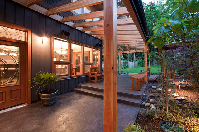 Covered Entry And Outdoor Living Area Transitional Patio Vancouver By My House Design