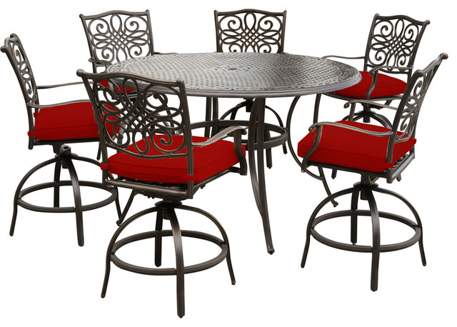 traditions 7 piece high dining set with 6 swivel chairs and 56 cast top table